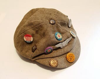 1940s Newsboy Newsie Hat with Vintage Buttons & Lapel Pins