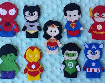 Super Hero Finger Puppets Superhero, Party Favor - Ready to Ship