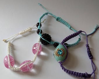Beaded square knot bracelet for women/girls