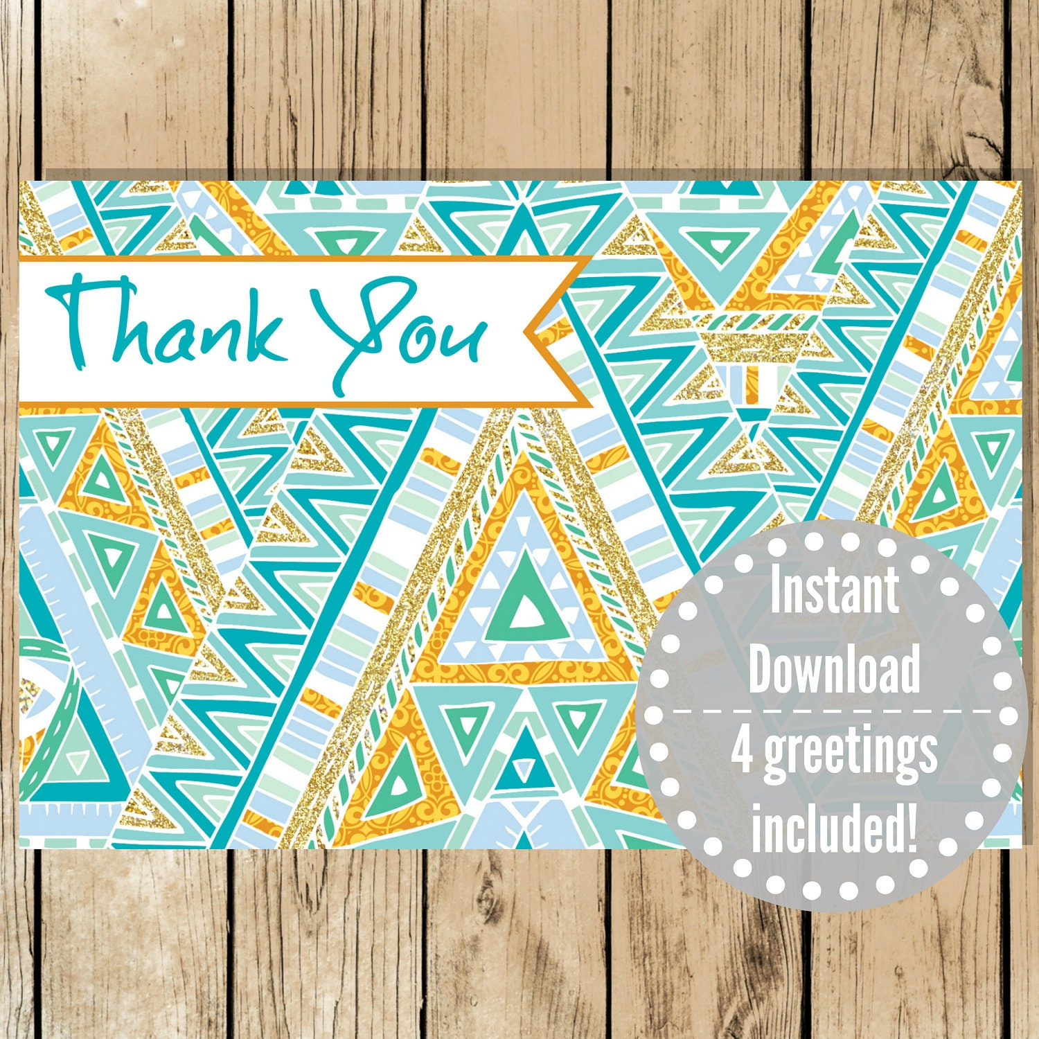Printable Greeting Card Set Blue Gold Aztec Thank You Card