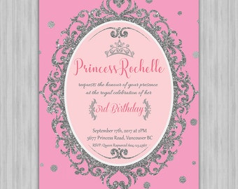Baby Girl Birthday Invitation - Pink Princess Theme - Pink and Silver- Digital File - Printable