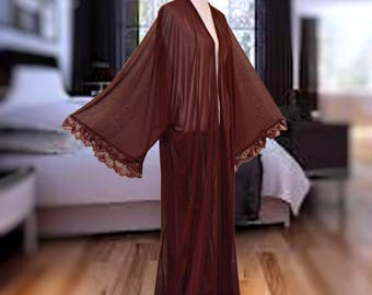 Burgundy kimono, reddish brown robe, Women long robe, Intimate cardigan, long sheer kimono, lace trim robe, maxi kimono, wine long robe