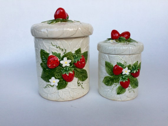 Items similar to strawberry theme vintage kitchen countertop decor canister set 1980 39 s decor - Strawberry themed kitchen decor ...