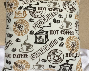 "Handmade Coffee Print Throw Pillow 14"" x 14"""