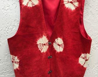 Vintage Leather Vest in Orange Red with Batik Kaleidoscope Design Boho Hipster Style