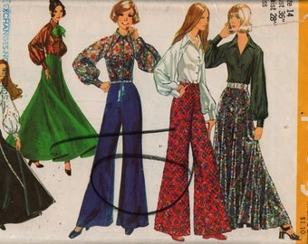 """Simplicity Dress Pattern 5310 Size 14, bust 36"""" 1972, maxi skirt, high-waisted pants & poet shirt complete, used"""