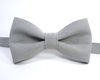 Grey Linen bow tie, Mens bow tie, grey bow tie, wedding bow tie, grooms bow tie, Bow ties for men, boy's bow tie, toddler's bow tie.