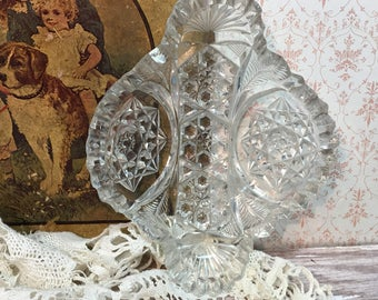 Vintage Cut Glass Dish/EAPG/Saw Tooth Edge/Star Design