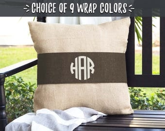 Monogrammed Pillow Covers, Brown Pillows Farmhouse Burlap Pillow Wraps, Rustic Wedding Gifts for Couple, Initial Monogram Gift, 508272954