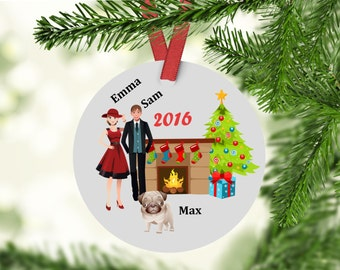 Custom Family Ornament With Pug - Pug Chrismtas Ornament - pug ornament - family ornament - pug
