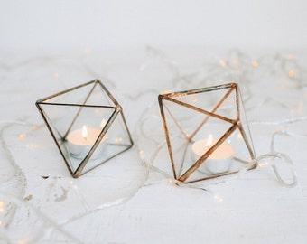 Glass candle holder - Wedding Candle holder - Candle holder - Geometric terrarium - wedding ring box - Candleholders