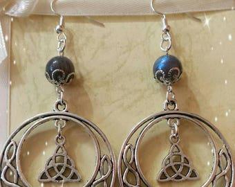 Earrings Celtic knots-labradorite-triquetra-pagan wiccan jewelry-jewelry-wicca-pagan-celtic