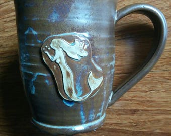 Handmade ceramic mug, brown with light blue drips mermaid mug, large 24 ounce mug for coffee or tea,  #106