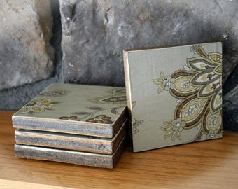 Wooden Coasters with Brown Floral Design