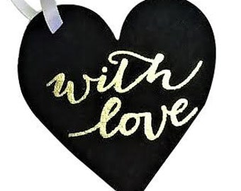 """Ornament Gift Tags (Set of 2) Silver """"XO"""" & Black """"With Love"""""""