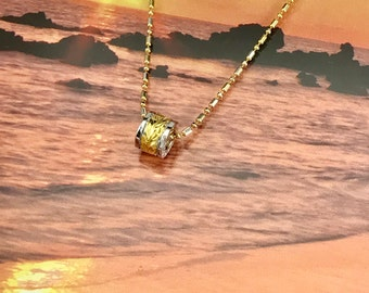 Sterling Silver Hawaiian 14K Yellow Two Toned 6mm Maile Bead with Two Toned Sterling Silver Bead Chain (P1017)