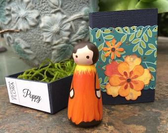 Poppy Wooden Peg Doll with Paper Matchbox {Specimen 4}