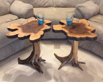 Rustic End Table Set, Rustic Furniture, Unique Side Table, Cypress End Table, Night Stand, Stump Base, Stump End Table, Stump Furniture