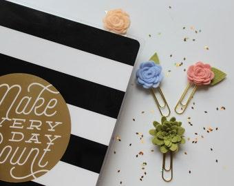 Paper clip || Set of 3 || Flower paper clip || Felt paper clip || planner || teacher gift || Flower accessories ||  Planner paper clip ||
