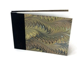 Large Hardcover Marbled Album, Journal or Sketchbook in Black Bookcloth & Contemporary Printed Marbled Paper