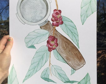 Portafilter Espresso Coffee Bean Watercolor Print