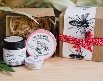 Gift for wife, Pamper Hamper, Spa Gift Set, Birthday Gift, Gift with Natural Skin Care Products| Gift under 40 | Any two balms + lip balm