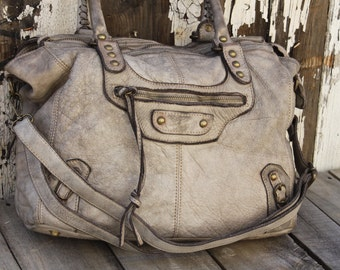"Stone Italian Leather Handbag ""Limited Edition"""