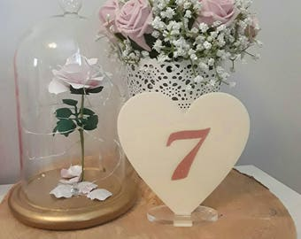 Wedding table numbers, heart table numbers, wedding table decor, wedding numbers, acrylic table numbers, vintage style wedding