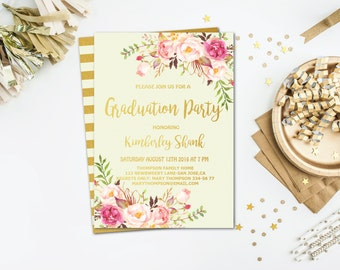 Boho Graduation Party Invitation, Graduation Party Invitations Printable, High School Graduation Party Invitation, Graduation Party Invite