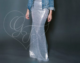 Silver Sequin Skirt - High Waist Trumpet/Mermaid Maxi