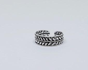 Leaf Oxidized Sterling  Silver Toe Ring, Boho Ring, Tribal Ring, Adjustable Ring, Sterling Silver Jewelry