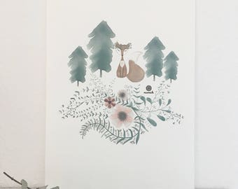 Fox with a flower wreath and flowers fir forest landscape contemporary art print living illustration present minimalist abstract
