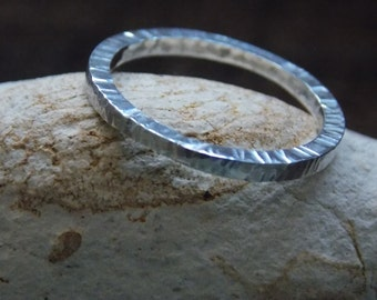 Square Hammered and textured Sterling Silver Ring