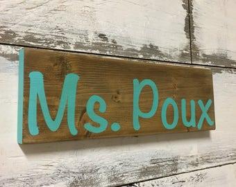 Teacher gift, teacher name sign, wood sign, wall art, desk art, classroom decoration, elementary school, personalized gift teacher wood sign