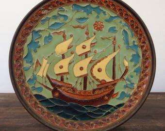 G.Halkides enamel, bronze and copper ship plate