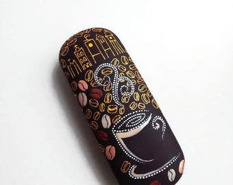 Сoffee lover Hard Eyeglass case Coffee style glasses case Hand painted case for glass Designer eyeglass Gold coffee lover gift