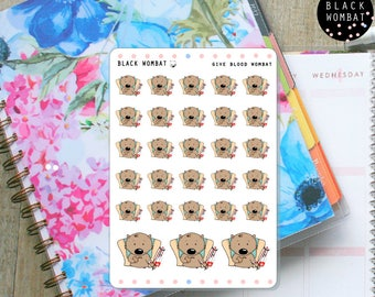 Donate Blood Wombats, Donate Blood, Give blood Planner Stickers - Erin Condren - MulberryPOP - Various Planners