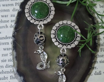Plugs with green stone and snakes trailer (Harry Potter inspired) (10-16 mm)