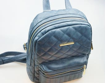 Blue Quilted Zip BackPack