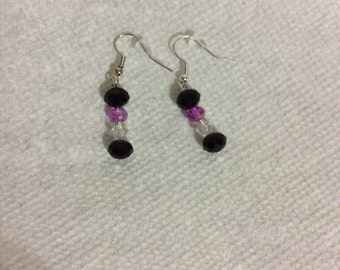 Black, clear, and purpl bead drop earrings