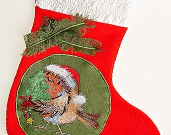 Christmas Stocking,Kids Gift,Embroidered Christmas Stocking,Christmas gift,red white stocking, holiday stocking,Kids Christmas stocking