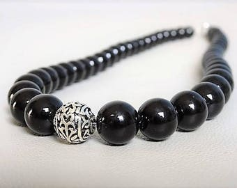 Onyx beaded necklace with a sterling silver bead and stone-Boho-gemstone necklace