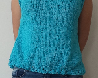 Hand-knitted top, Summer top, Summer knitwear, Sleeveless Top, Blue women's blouse, Cotton sweater loose, Knit tank top, Sweater for women