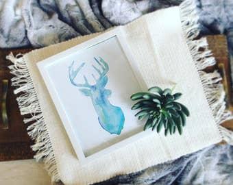 Watercolor Deer Head Art Print