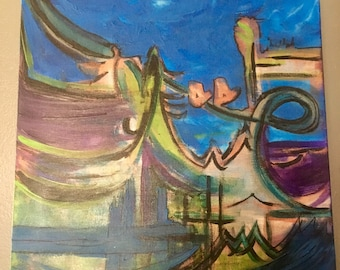 """Original Unique Series of 3 Abstract Paintings """"Movement"""""""
