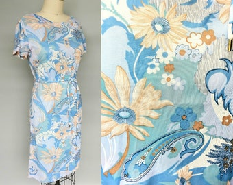 daydreams / 1970s blue floral summer day dress / 2 4 6 xs small