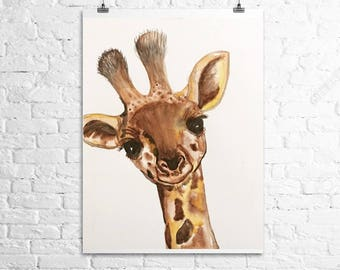 Watercolor Giraffe | Baby Giraffe | Print | Room Decor | Wall Decor | Wall Art | Nursery | Baby Animal | Digital Print