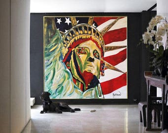 Statue of Liberty Art, Statue of Liberty Photo,New York City,Art ORIGINAL Large,Wall Art Gifts,NYC Art American Flag I Love New York Decor