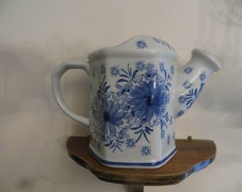 Watering Pitcher Flower Vase Fine China  Blue & White.