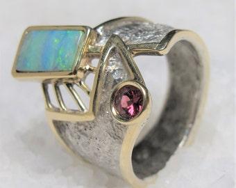 Oxidized silver band ring, gold opal garnet ring